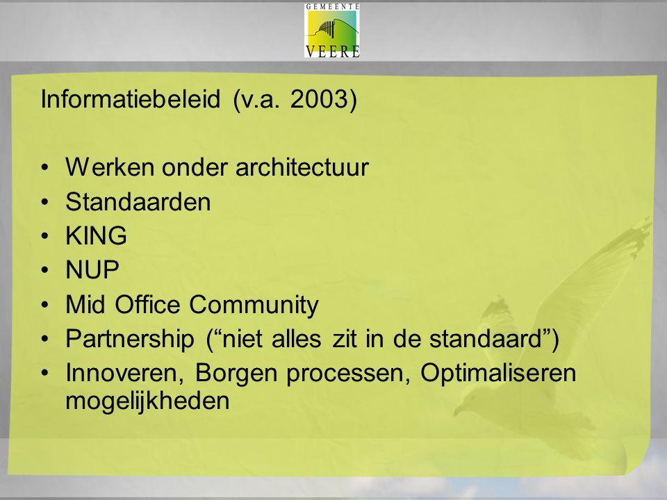 """Informatiebeleid (v.a. 2003) Werken onder architectuur Standaarden KING NUP Mid Office Community Partnership (""""niet alles zit in de standaard"""") Innove"""