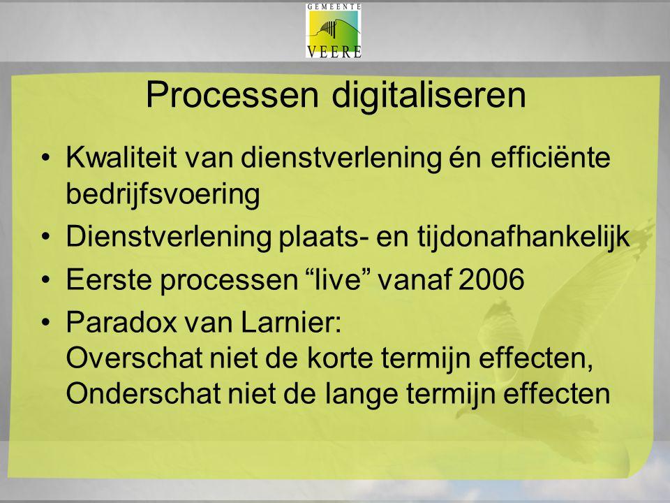"""Processen digitaliseren Kwaliteit van dienstverlening én efficiënte bedrijfsvoering Dienstverlening plaats- en tijdonafhankelijk Eerste processen """"liv"""