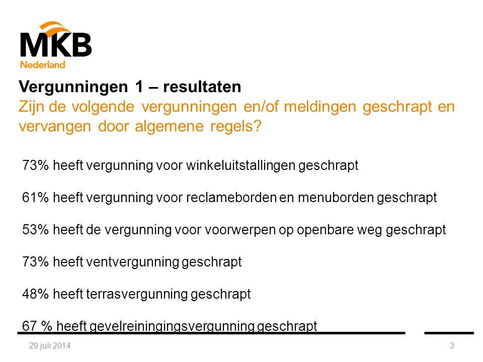 29 juli 20143 73% heeft vergunning voor winkeluitstallingen geschrapt 61% heeft vergunning voor reclameborden en menuborden geschrapt 53% heeft de vergunning voor voorwerpen op openbare weg geschrapt 73% heeft ventvergunning geschrapt 48% heeft terrasvergunning geschrapt 67 % heeft gevelreiningingsvergunning geschrapt Vergunningen 1 – resultaten Zijn de volgende vergunningen en/of meldingen geschrapt en vervangen door algemene regels?