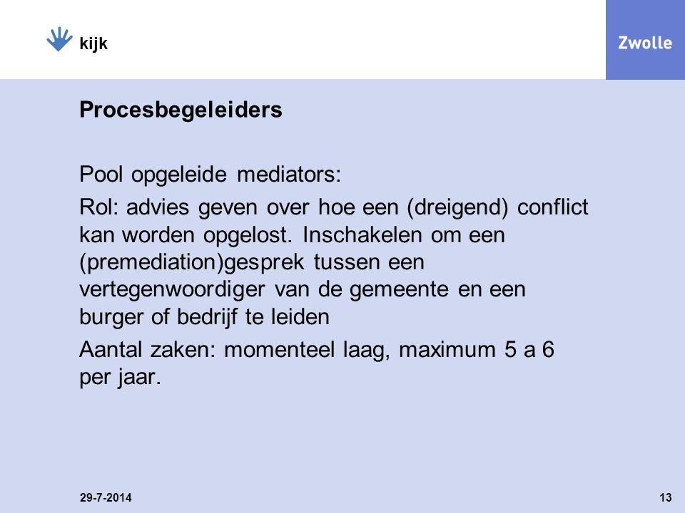 Procesbegeleiders Pool opgeleide mediators: Rol: advies geven over hoe een (dreigend) conflict kan worden opgelost.
