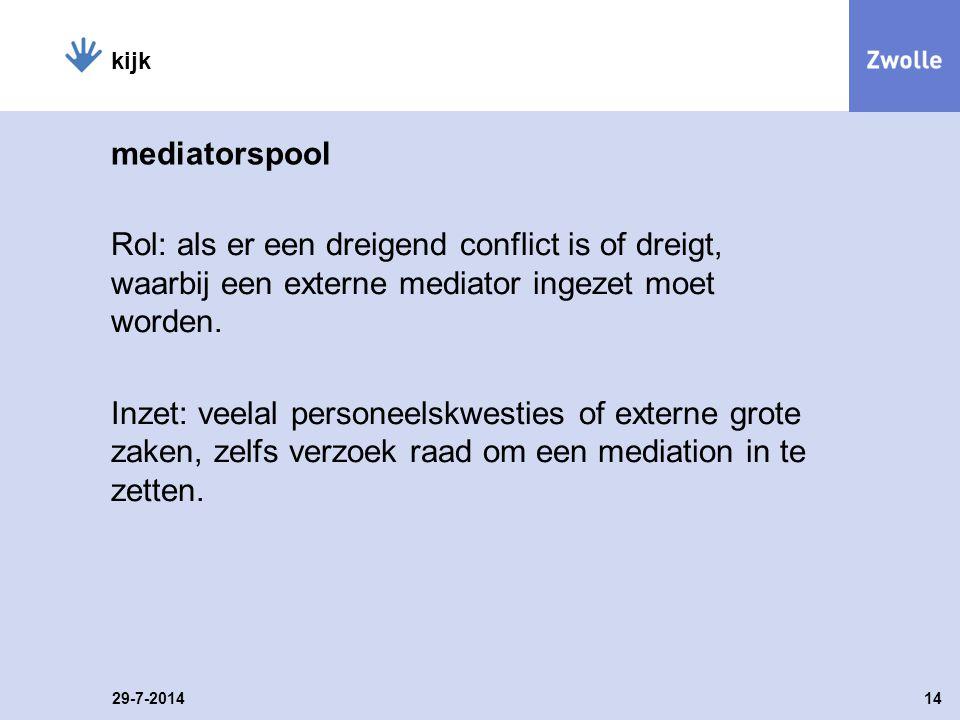 mediatorspool Rol: als er een dreigend conflict is of dreigt, waarbij een externe mediator ingezet moet worden.