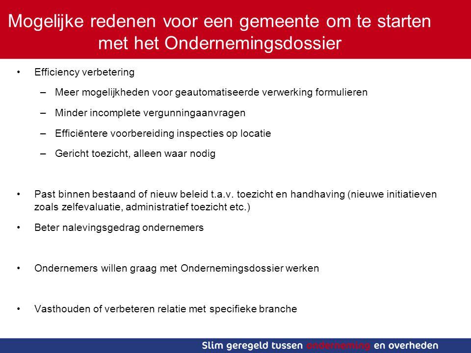 Stand van zaken Drie koploperbranches: -Recron -Koninklijke Horeca Nederland -Rubber en kunststofindustrie Aangesloten maar nog niet gestart: -STIBA (voertuigdemontagebedrijven) In gesprek met: -Glaskracht NLTO -NBOV (Brood- en Banketbakkers) -HISWA -Bouwend Nederland -Metaalunie