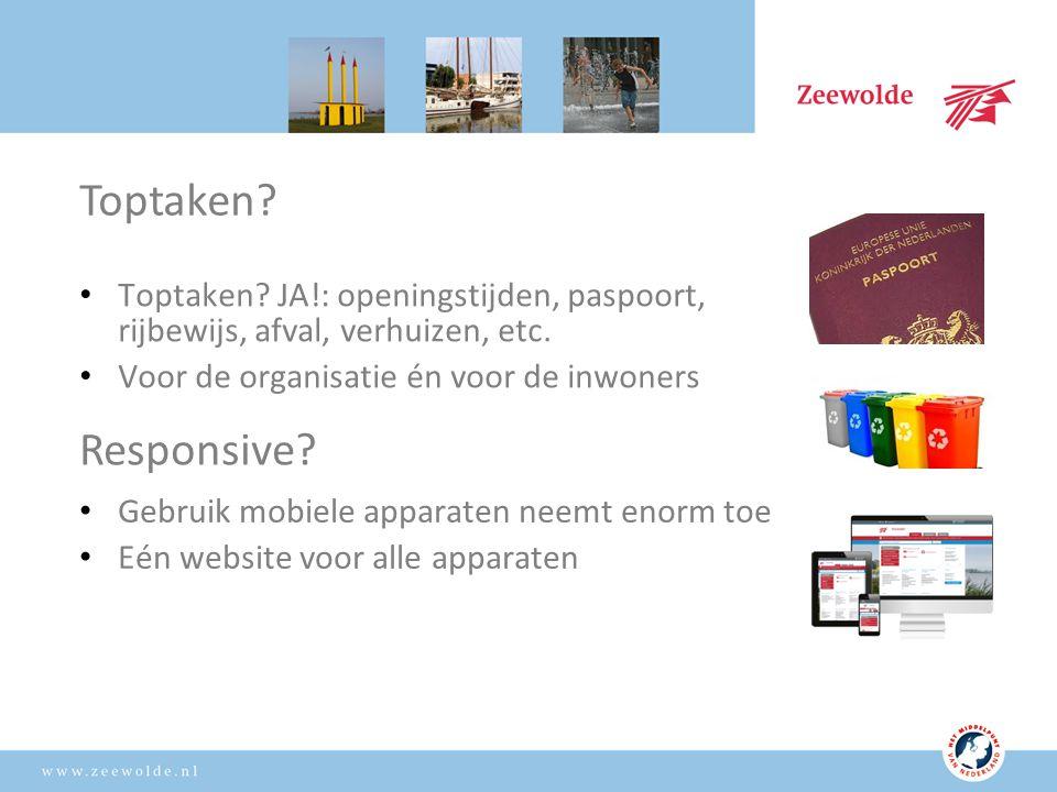 Toptaken. JA!: openingstijden, paspoort, rijbewijs, afval, verhuizen, etc.