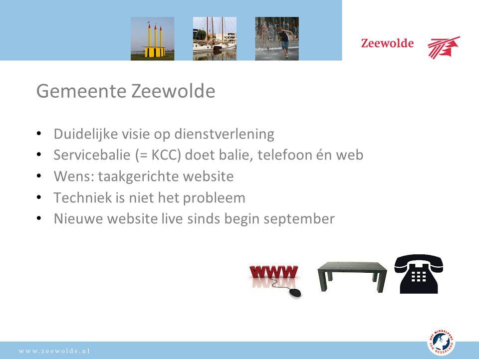 Wens: taakgerichte website Bezoeker centraal Ingericht op de toptaken: waarvoor komt men naar de gemeentelijke website.