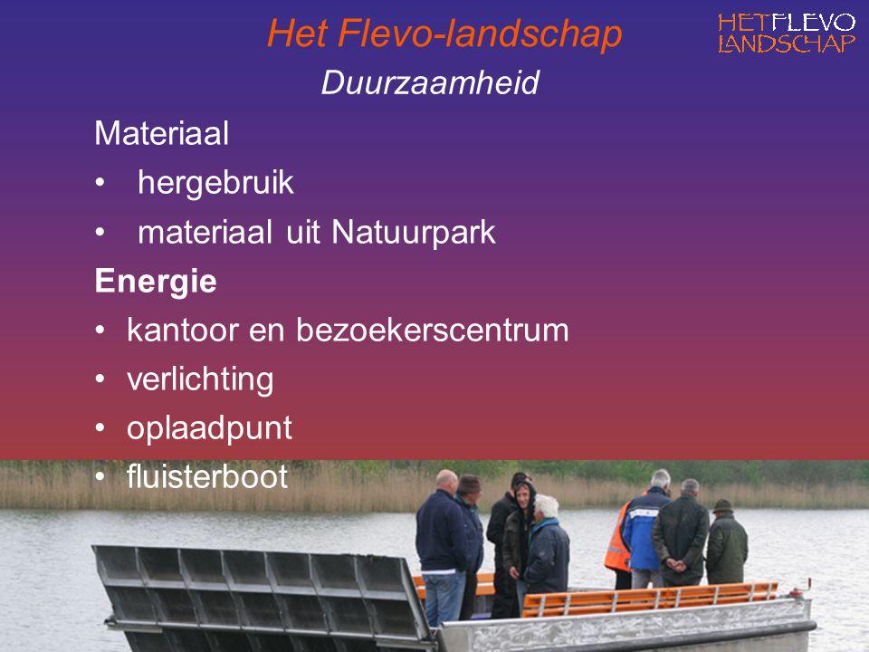 Duurzaamheid Materiaal hergebruik materiaal uit Natuurpark Energie kantoor en bezoekerscentrum verlichting oplaadpunt fluisterboot Het Flevo-landschap