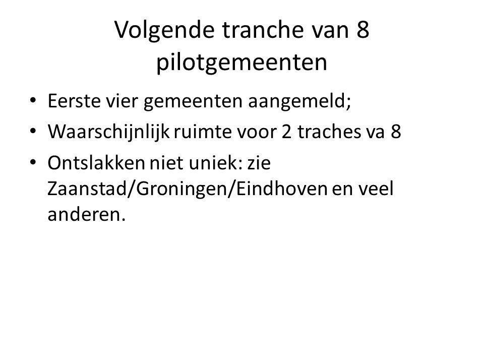 Volgende tranche van 8 pilotgemeenten Eerste vier gemeenten aangemeld; Waarschijnlijk ruimte voor 2 traches va 8 Ontslakken niet uniek: zie Zaanstad/Groningen/Eindhoven en veel anderen.