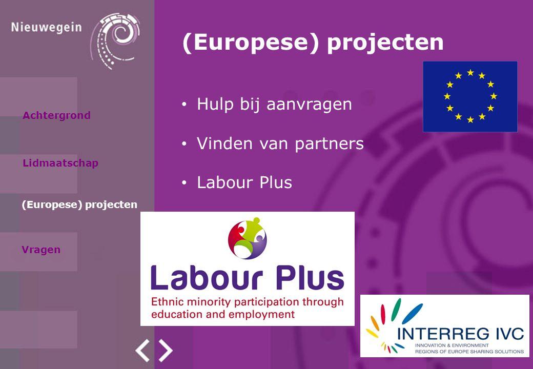 Achtergrond Lidmaatschap (Europese) projecten Hulp bij aanvragen Vinden van partners Labour Plus Vragen