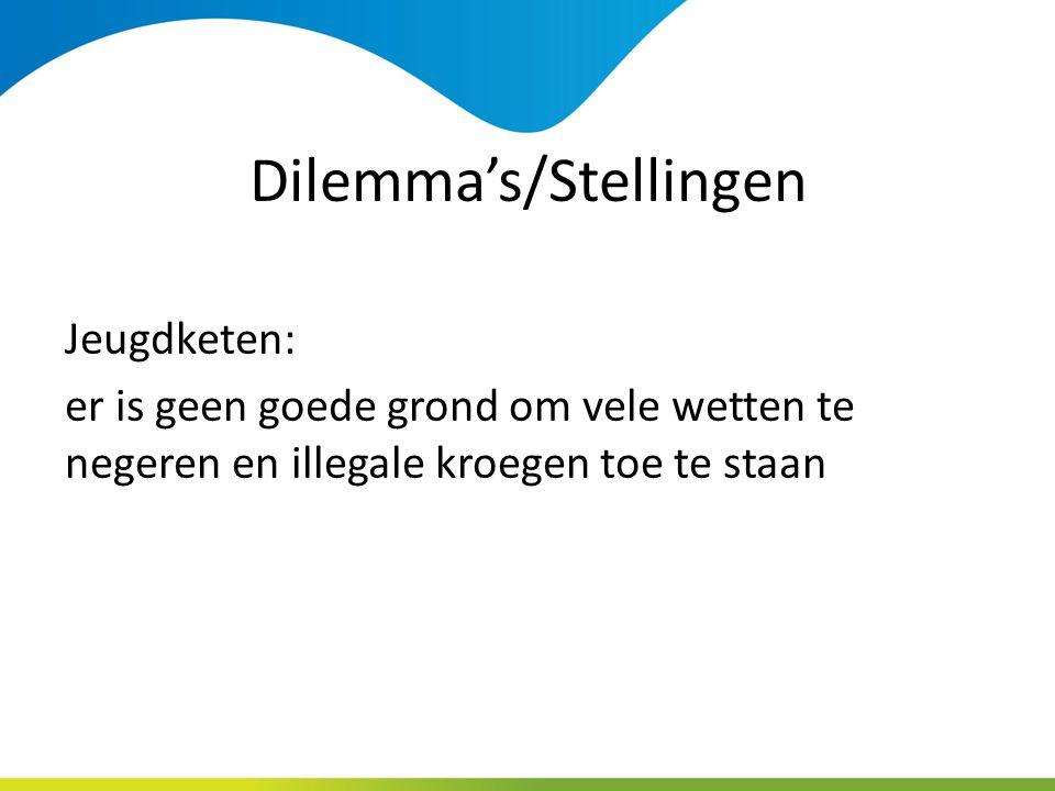 Dilemma's/Stellingen Jeugdketen: er is geen goede grond om vele wetten te negeren en illegale kroegen toe te staan