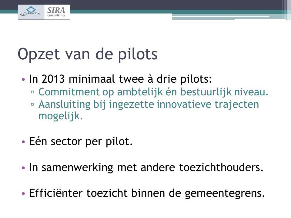 Opzet van de pilots In 2013 minimaal twee à drie pilots: ▫ Commitment op ambtelijk én bestuurlijk niveau. ▫ Aansluiting bij ingezette innovatieve traj