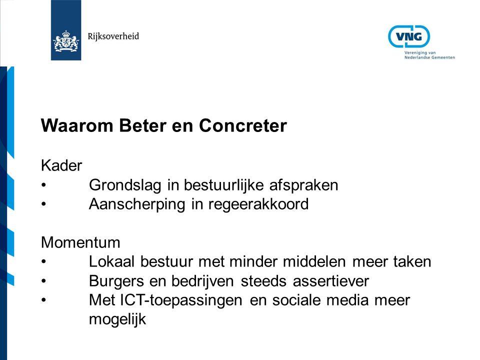 Vereniging van Nederlandse Gemeenten Waarom Beter en Concreter Kader Grondslag in bestuurlijke afspraken Aanscherping in regeerakkoord Momentum Lokaal