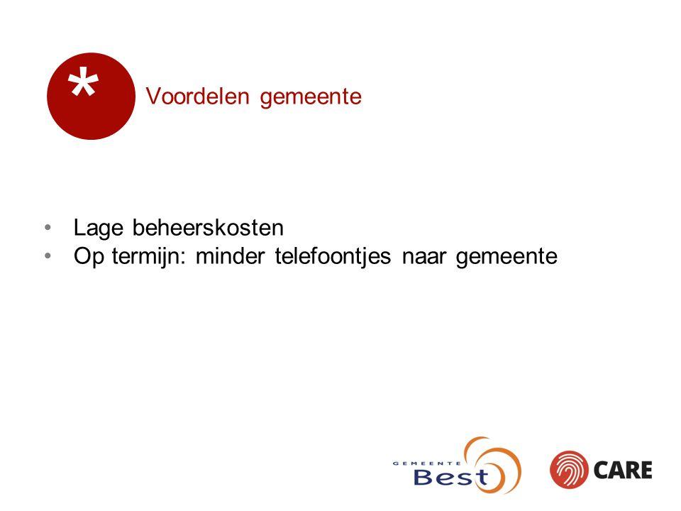 Voordelen gemeente Lage beheerskosten Op termijn: minder telefoontjes naar gemeente *