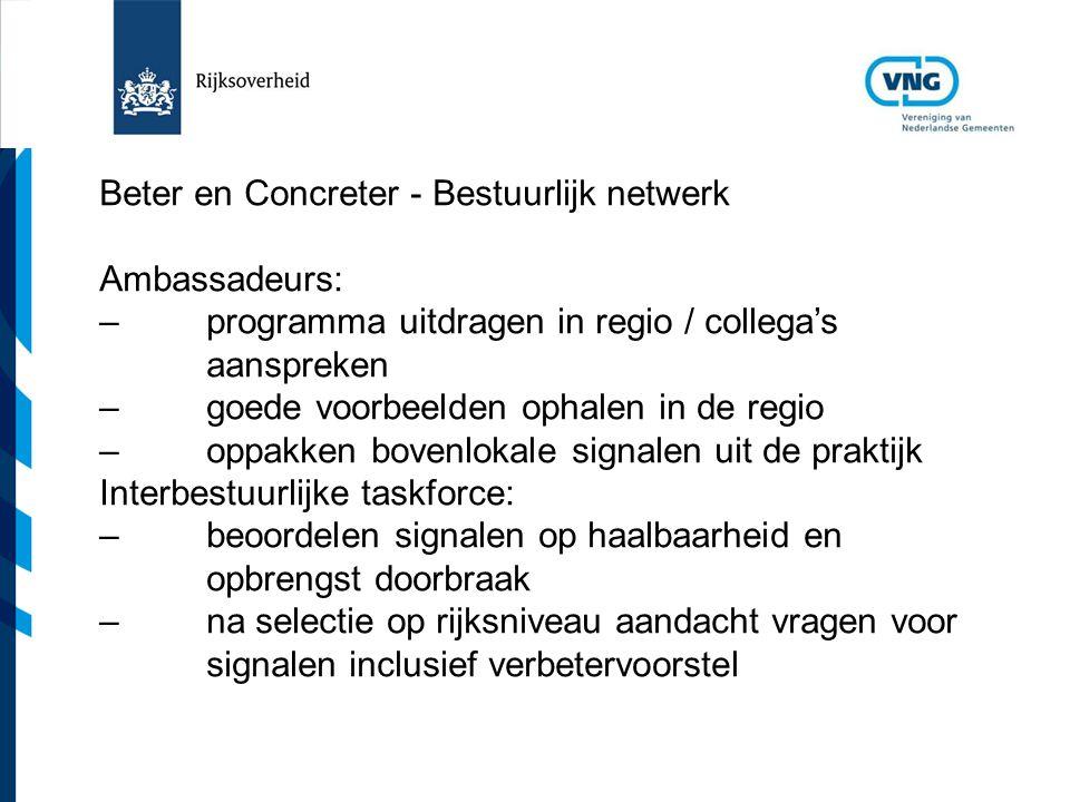 Vereniging van Nederlandse Gemeenten Beter en Concreter - Bestuurlijk netwerk Ambassadeurs: –programma uitdragen in regio / collega's aanspreken –goed