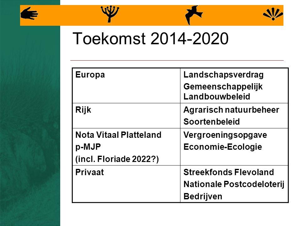 Toekomst 2014-2020 EuropaLandschapsverdrag Gemeenschappelijk Landbouwbeleid RijkAgrarisch natuurbeheer Soortenbeleid Nota Vitaal Platteland p-MJP (incl.