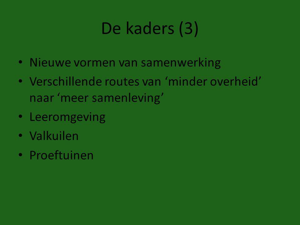 De kaders (3) Nieuwe vormen van samenwerking Verschillende routes van 'minder overheid' naar 'meer samenleving' Leeromgeving Valkuilen Proeftuinen