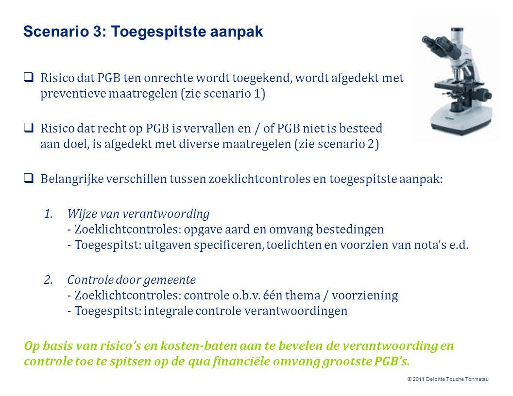 © 2011 Deloitte Touche Tohmatsu Scenario 3: Toegespitste aanpak  Risico dat PGB ten onrechte wordt toegekend, wordt afgedekt met preventieve maatregelen (zie scenario 1)  Risico dat recht op PGB is vervallen en / of PGB niet is besteed aan doel, is afgedekt met diverse maatregelen (zie scenario 2)  Belangrijke verschillen tussen zoeklichtcontroles en toegespitste aanpak: 1.Wijze van verantwoording - Zoeklichtcontroles: opgave aard en omvang bestedingen - Toegespitst: uitgaven specificeren, toelichten en voorzien van nota's e.d.