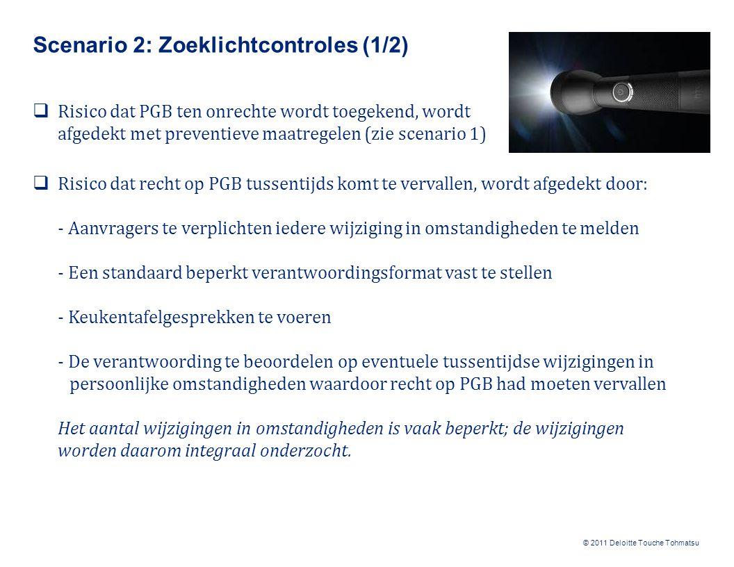 © 2011 Deloitte Touche Tohmatsu Scenario 2: Zoeklichtcontroles (2/2)  Risico dat PGB niet wordt besteed aan het doel waarvoor het is toegekend, wordt afgedekt door: - Bestedingsvoorwaarden vast te leggen in de toekenningsbeschikking - Een standaard beperkt verantwoordingsformat vast te stellen - Het bespreken van de bestedingen tijdens de keukentafelgesprekken (inclusief 'waarneming ter plaatse') - Het beoordelen van de verantwoording Controleer de verantwoordingen niet integraal, de eis verantwoording af te leggen werkt al preventief.
