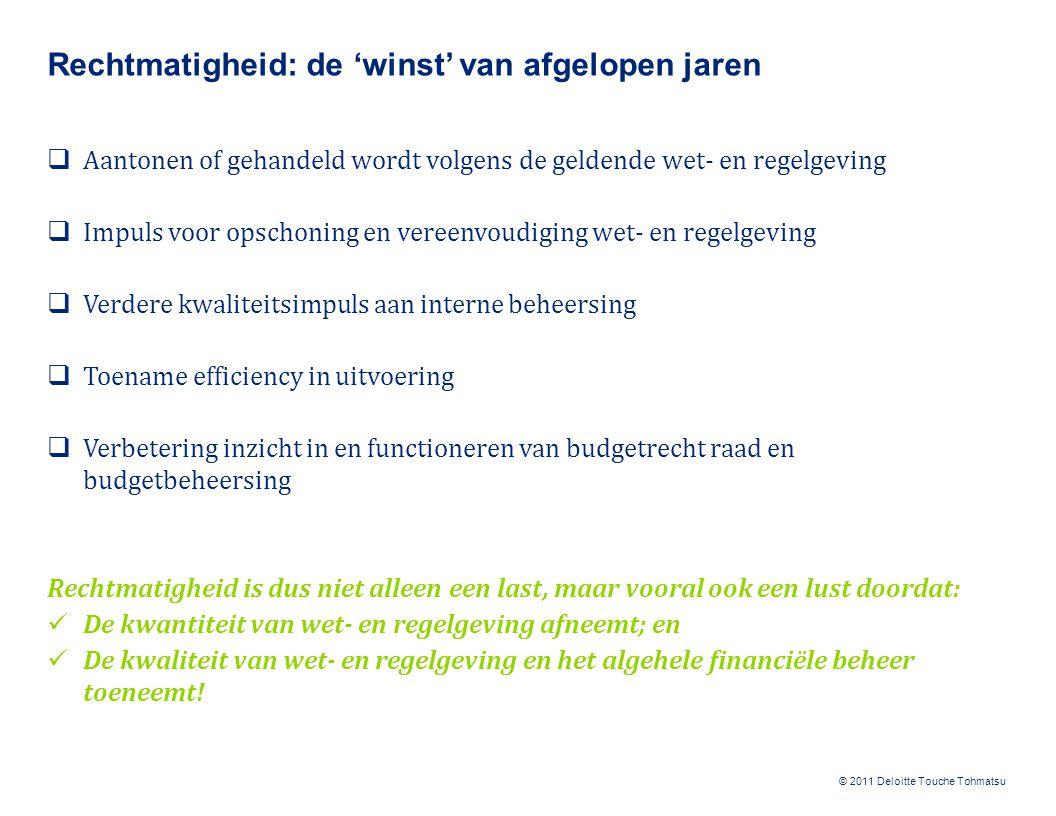 © 2011 Deloitte Touche Tohmatsu Rechtmatigheid: de 'winst' van afgelopen jaren  Aantonen of gehandeld wordt volgens de geldende wet- en regelgeving 