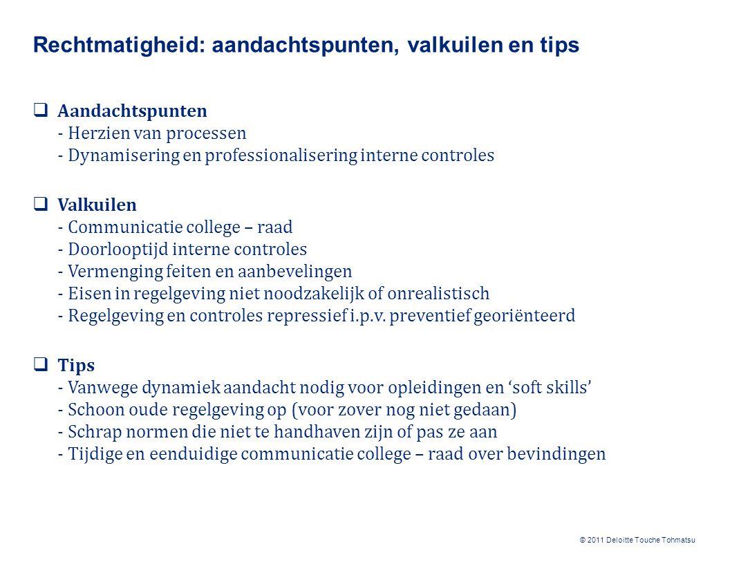 © 2011 Deloitte Touche Tohmatsu Rechtmatigheid: aandachtspunten, valkuilen en tips  Aandachtspunten - Herzien van processen - Dynamisering en profess