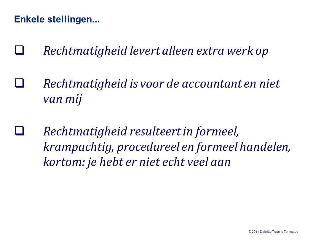 © 2011 Deloitte Touche Tohmatsu Inleiding rechtmatigheid: het wat, hoe en waarom (1/2)  Rechtmatigheid = het naleven van wet- en regelgeving  Onrechtmatig handelen ≠ fraude  Rechtmatigheid is niet van of voor de accountant, maar een 'zaak' van de gemeente zelf; de accountant stelt 'alleen maar' vast dat de wet- en regelgeving is nageleefd  Nieuwe criteria t.o.v.