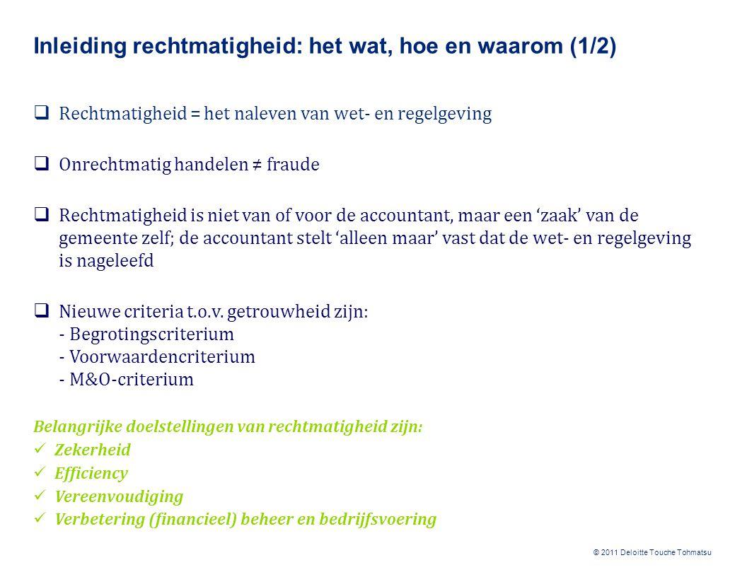 © 2011 Deloitte Touche Tohmatsu Inleiding rechtmatigheid: het wat, hoe en waarom (1/2)  Rechtmatigheid = het naleven van wet- en regelgeving  Onrech