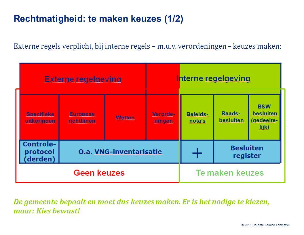 © 2011 Deloitte Touche Tohmatsu Rechtmatigheid: te maken keuzes (1/2) Externe regels verplicht, bij interne regels – m.u.v. verordeningen – keuzes mak