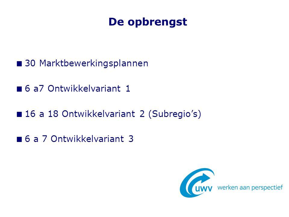 De opbrengst 30 Marktbewerkingsplannen 6 a7 Ontwikkelvariant 1 16 a 18 Ontwikkelvariant 2 (Subregio's) 6 a 7 Ontwikkelvariant 3