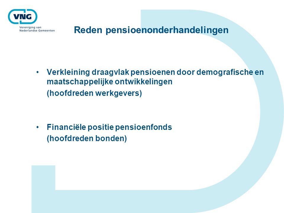 Reden pensioenonderhandelingen Verkleining draagvlak pensioenen door demografische en maatschappelijke ontwikkelingen (hoofdreden werkgevers) Financiële positie pensioenfonds (hoofdreden bonden)