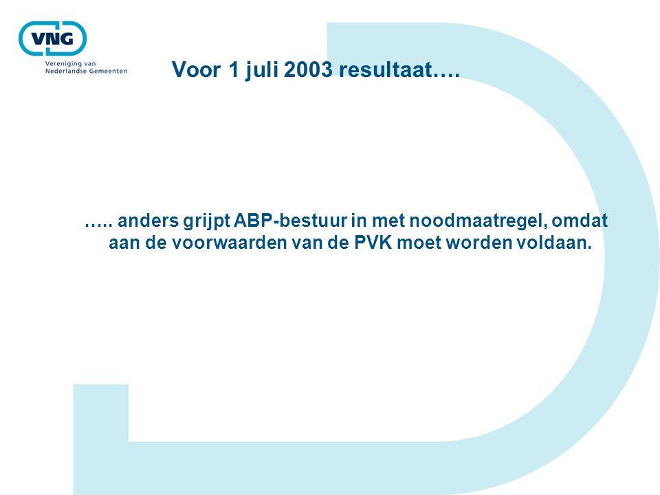 Voor 1 juli 2003 resultaat…. ….. anders grijpt ABP-bestuur in met noodmaatregel, omdat aan de voorwaarden van de PVK moet worden voldaan.