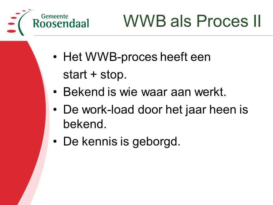 Het WWB-proces heeft een start + stop. Bekend is wie waar aan werkt. De work-load door het jaar heen is bekend. De kennis is geborgd. WWB als Proces I
