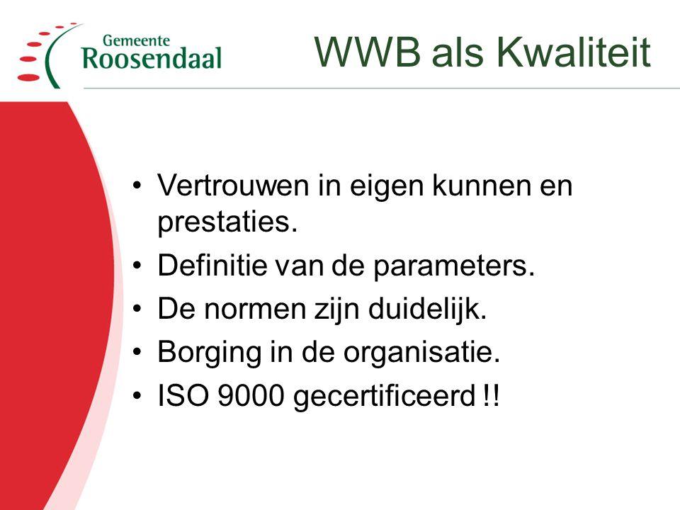 Vertrouwen in eigen kunnen en prestaties. Definitie van de parameters. De normen zijn duidelijk. Borging in de organisatie. ISO 9000 gecertificeerd !!
