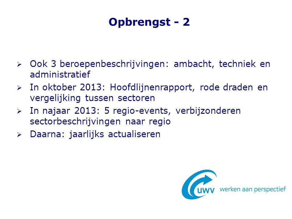 Opbrengst - 2  Ook 3 beroepenbeschrijvingen: ambacht, techniek en administratief  In oktober 2013: Hoofdlijnenrapport, rode draden en vergelijking t