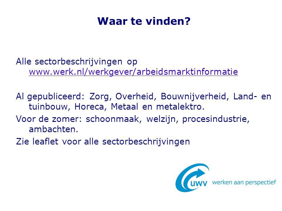 Waar te vinden? Alle sectorbeschrijvingen op www.werk.nl/werkgever/arbeidsmarktinformatie www.werk.nl/werkgever/arbeidsmarktinformatie Al gepubliceerd