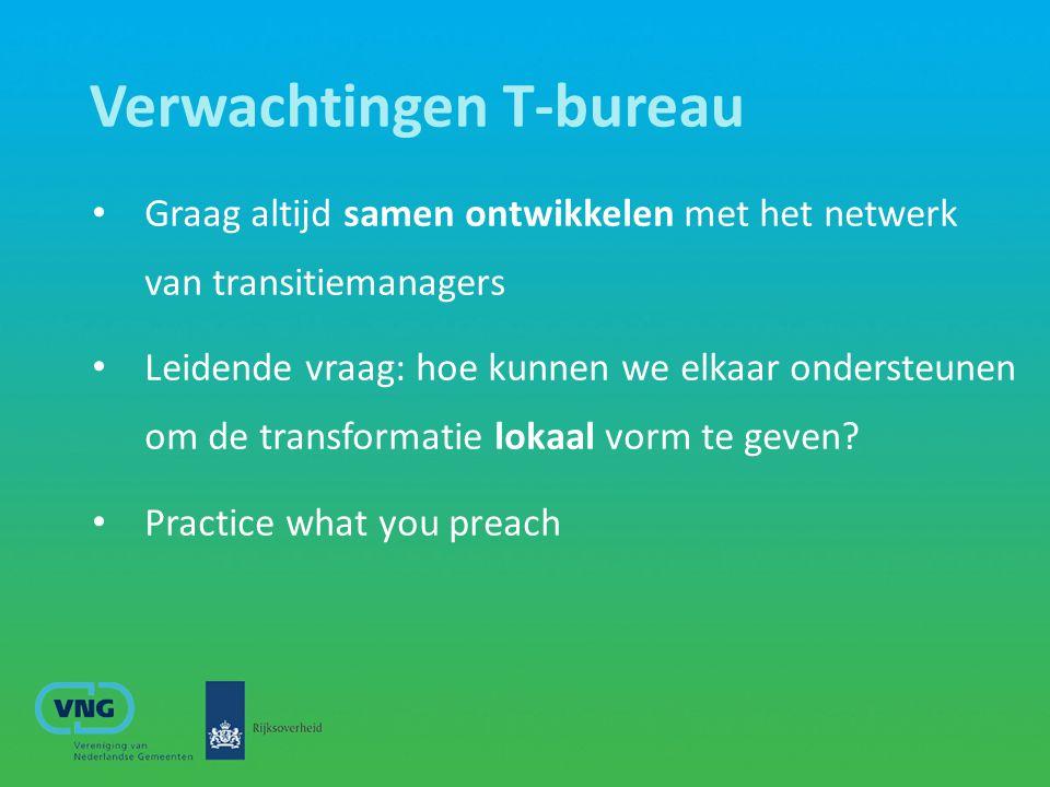 Verwachtingen T-bureau Graag altijd samen ontwikkelen met het netwerk van transitiemanagers Leidende vraag: hoe kunnen we elkaar ondersteunen om de tr
