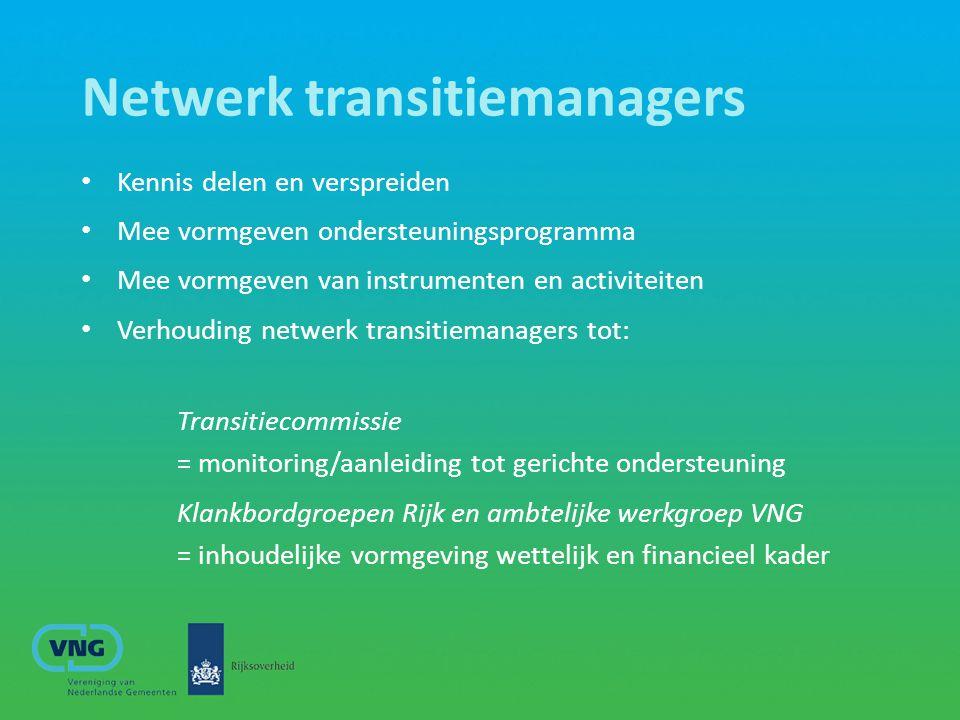 Netwerk transitiemanagers Kennis delen en verspreiden Mee vormgeven ondersteuningsprogramma Mee vormgeven van instrumenten en activiteiten Verhouding