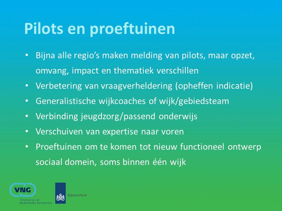 Pilots en proeftuinen Bijna alle regio's maken melding van pilots, maar opzet, omvang, impact en thematiek verschillen Verbetering van vraagverhelderi