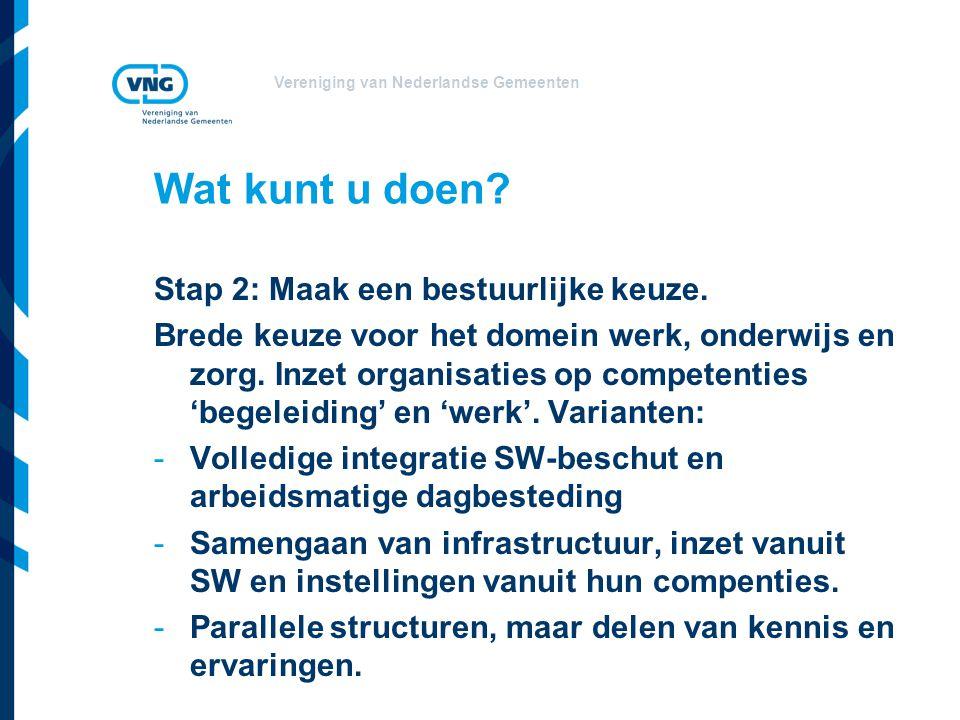 Vereniging van Nederlandse Gemeenten Wat kunt u doen? Stap 2: Maak een bestuurlijke keuze. Brede keuze voor het domein werk, onderwijs en zorg. Inzet