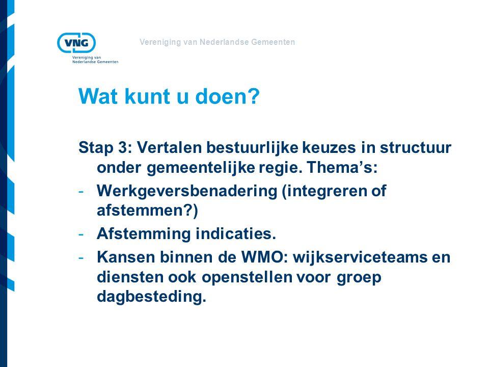 Vereniging van Nederlandse Gemeenten Wat kunt u doen? Stap 3: Vertalen bestuurlijke keuzes in structuur onder gemeentelijke regie. Thema's: -Werkgever