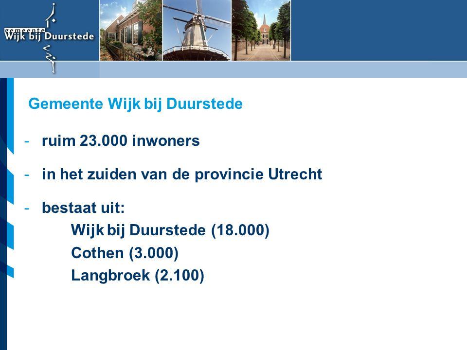 Vereniging van Nederlandse Gemeenten -ruim 23.000 inwoners -in het zuiden van de provincie Utrecht -bestaat uit: Wijk bij Duurstede (18.000) Cothen (3