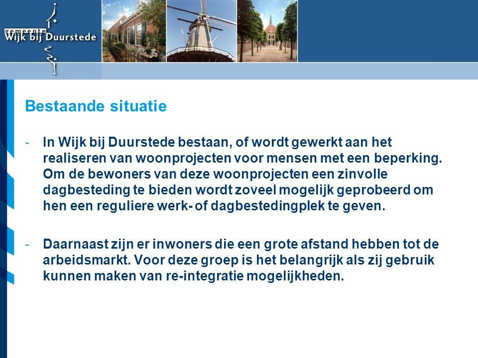 Vereniging van Nederlandse Gemeenten -In Wijk bij Duurstede bestaan, of wordt gewerkt aan het realiseren van woonprojecten voor mensen met een beperki