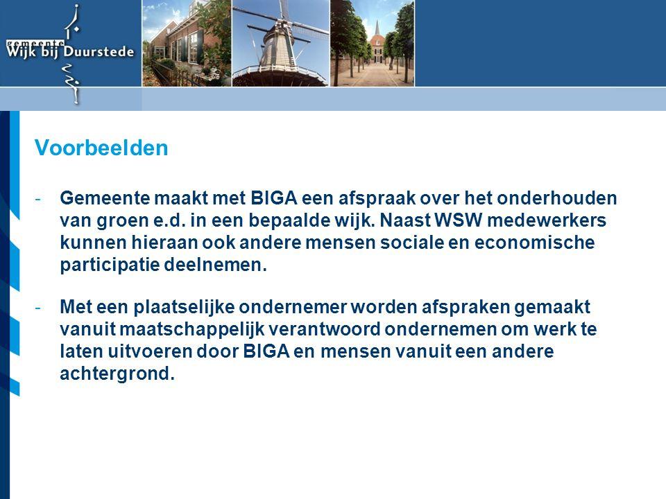 Vereniging van Nederlandse Gemeenten -Gemeente maakt met BIGA een afspraak over het onderhouden van groen e.d. in een bepaalde wijk. Naast WSW medewer