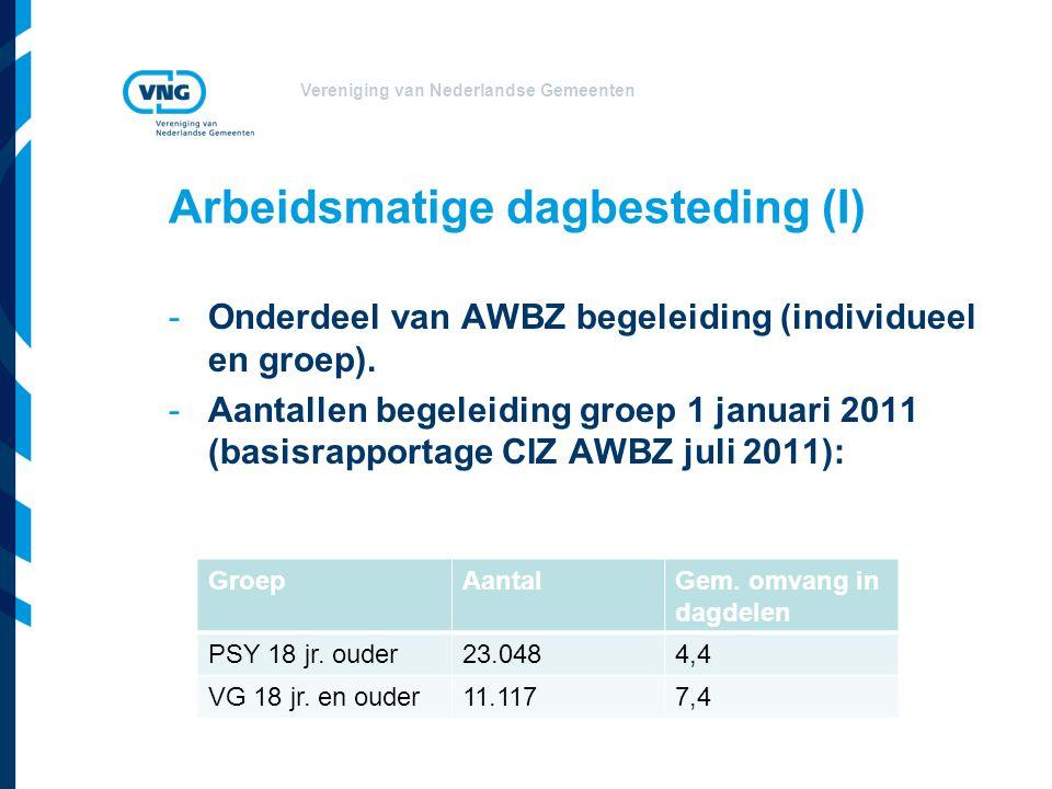 Vereniging van Nederlandse Gemeenten Arbeidsmatige dagbesteding (I) -Onderdeel van AWBZ begeleiding (individueel en groep). -Aantallen begeleiding gro