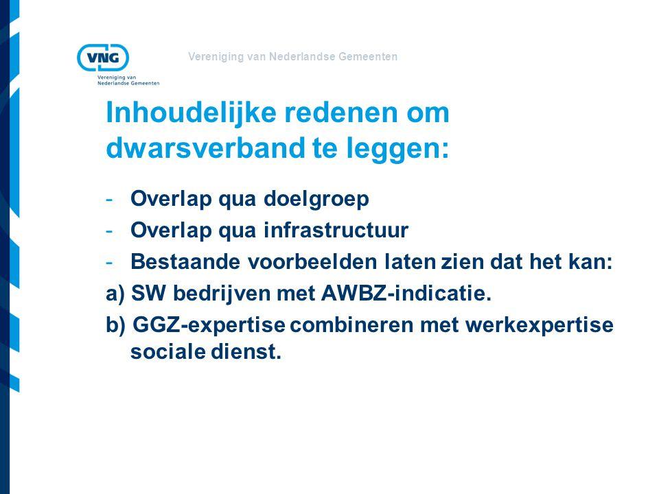 Vereniging van Nederlandse Gemeenten Inhoudelijke redenen om dwarsverband te leggen: -Overlap qua doelgroep -Overlap qua infrastructuur -Bestaande voo