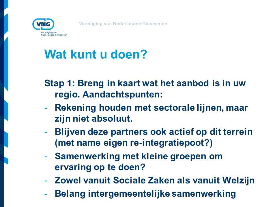 Vereniging van Nederlandse Gemeenten Wat kunt u doen? Stap 1: Breng in kaart wat het aanbod is in uw regio. Aandachtspunten: -Rekening houden met sect