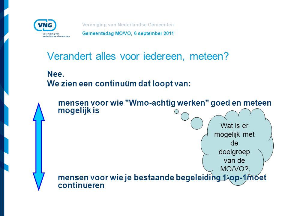 Vereniging van Nederlandse Gemeenten Gemeentedag MO/VO, 6 september 2011 Wat is er mogelijk met de doelgroep van de MO/VO? Verandert alles voor iedere