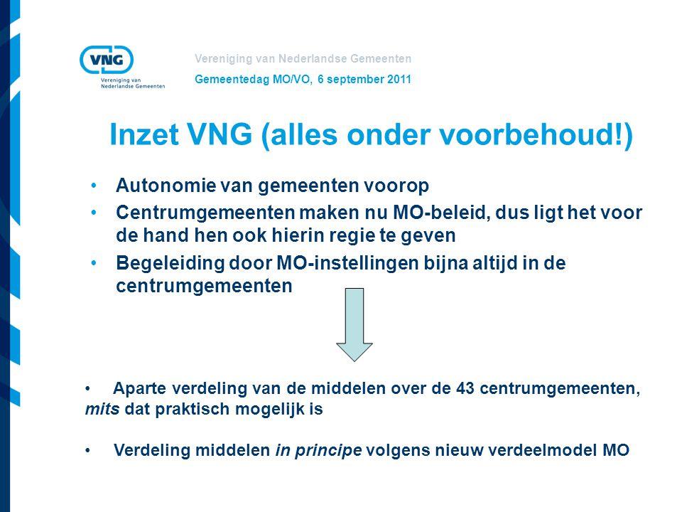 Vereniging van Nederlandse Gemeenten Gemeentedag MO/VO, 6 september 2011 Inzet VNG (alles onder voorbehoud!) Autonomie van gemeenten voorop Centrumgem