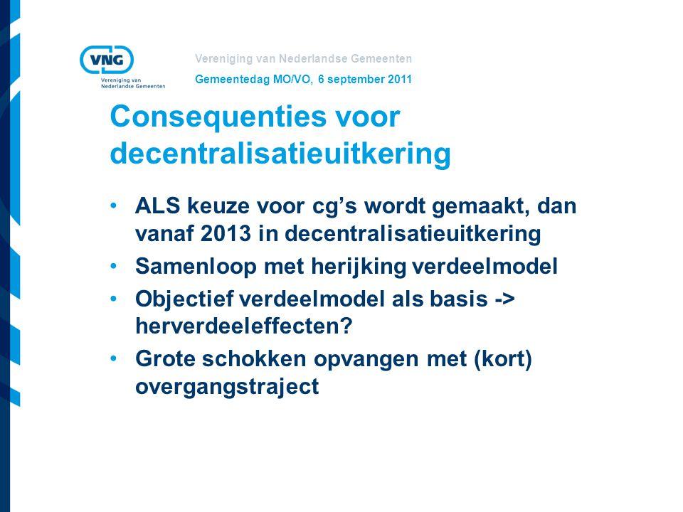 Vereniging van Nederlandse Gemeenten Gemeentedag MO/VO, 6 september 2011 Consequenties voor decentralisatieuitkering ALS keuze voor cg's wordt gemaakt