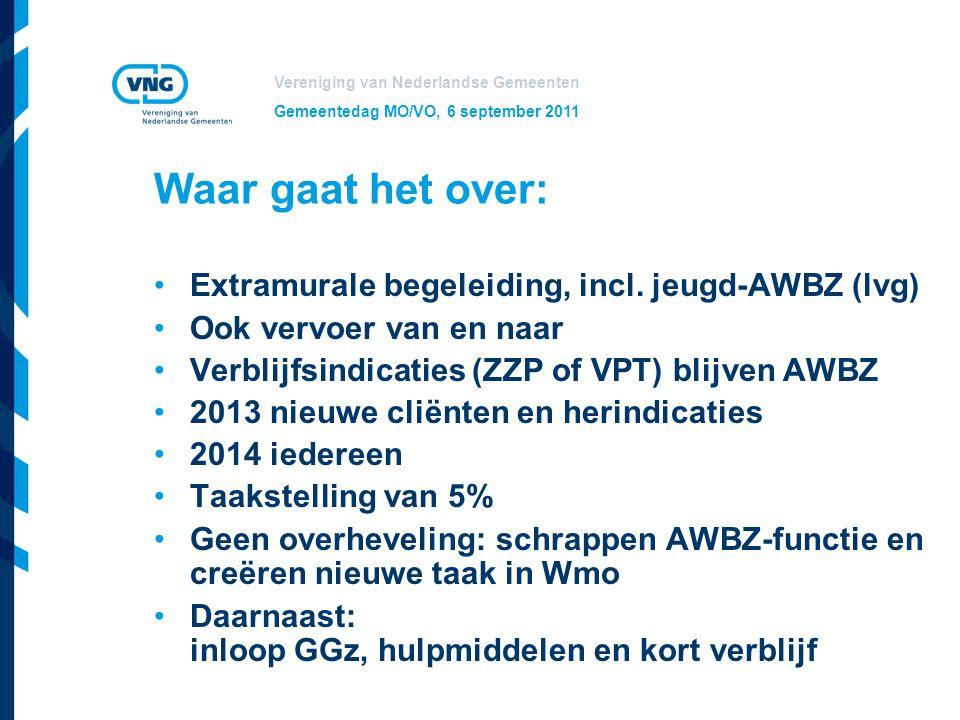 Vereniging van Nederlandse Gemeenten Gemeentedag MO/VO, 6 september 2011 Waar gaat het over: Extramurale begeleiding, incl. jeugd-AWBZ (lvg) Ook vervo