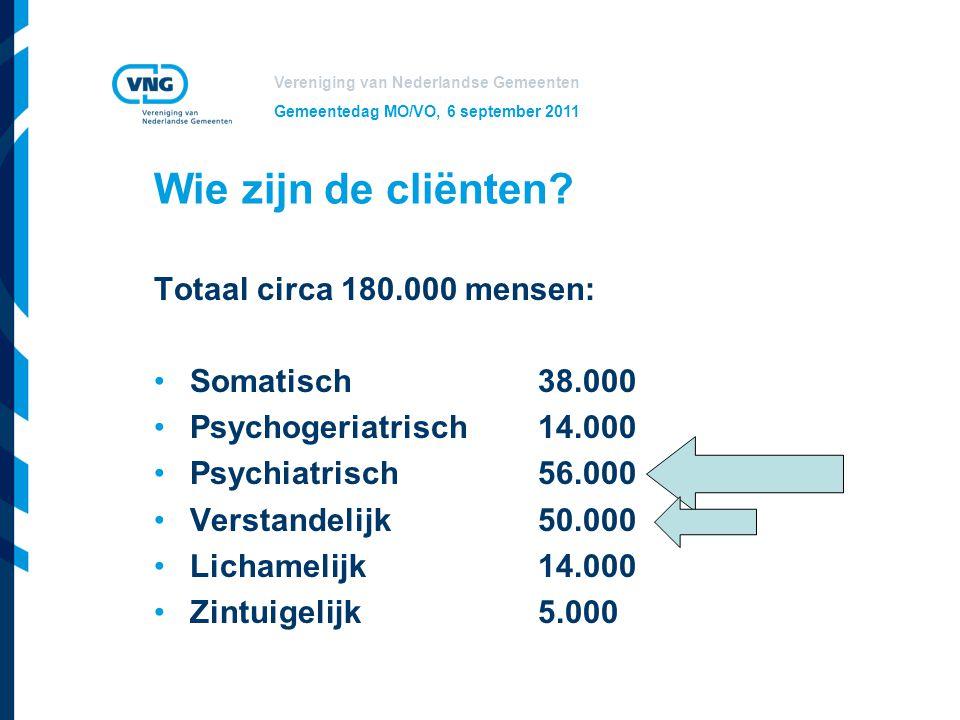 Vereniging van Nederlandse Gemeenten Gemeentedag MO/VO, 6 september 2011 Wie zijn de cliënten? Totaal circa 180.000 mensen: Somatisch38.000 Psychogeri