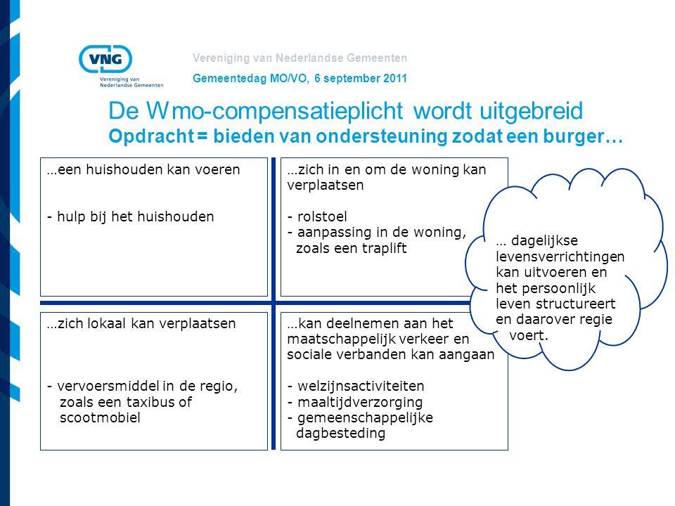 Vereniging van Nederlandse Gemeenten Gemeentedag MO/VO, 6 september 2011 De Wmo-compensatieplicht wordt uitgebreid Opdracht = bieden van ondersteuning
