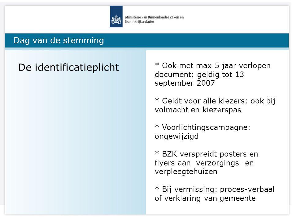Dag van de stemming De identificatieplicht * Ook met max 5 jaar verlopen document: geldig tot 13 september 2007 * Geldt voor alle kiezers: ook bij vol